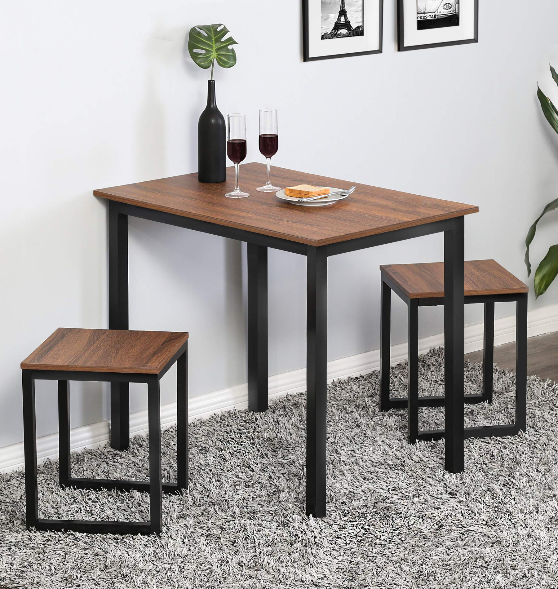 Homury Modern Wood 3 Piece Dining Set Studio Collection Soho Dining Table with Two Stools Home Kitchen Breakfast Table,Brown by Homury