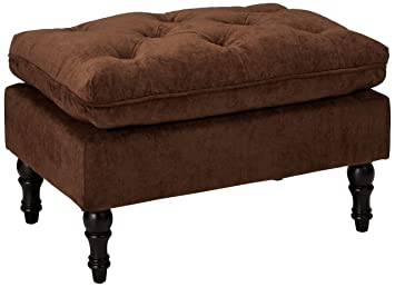 Christopher Knight Home 216608 Living Cordoba Chocolate Brown Tufted Ottoman