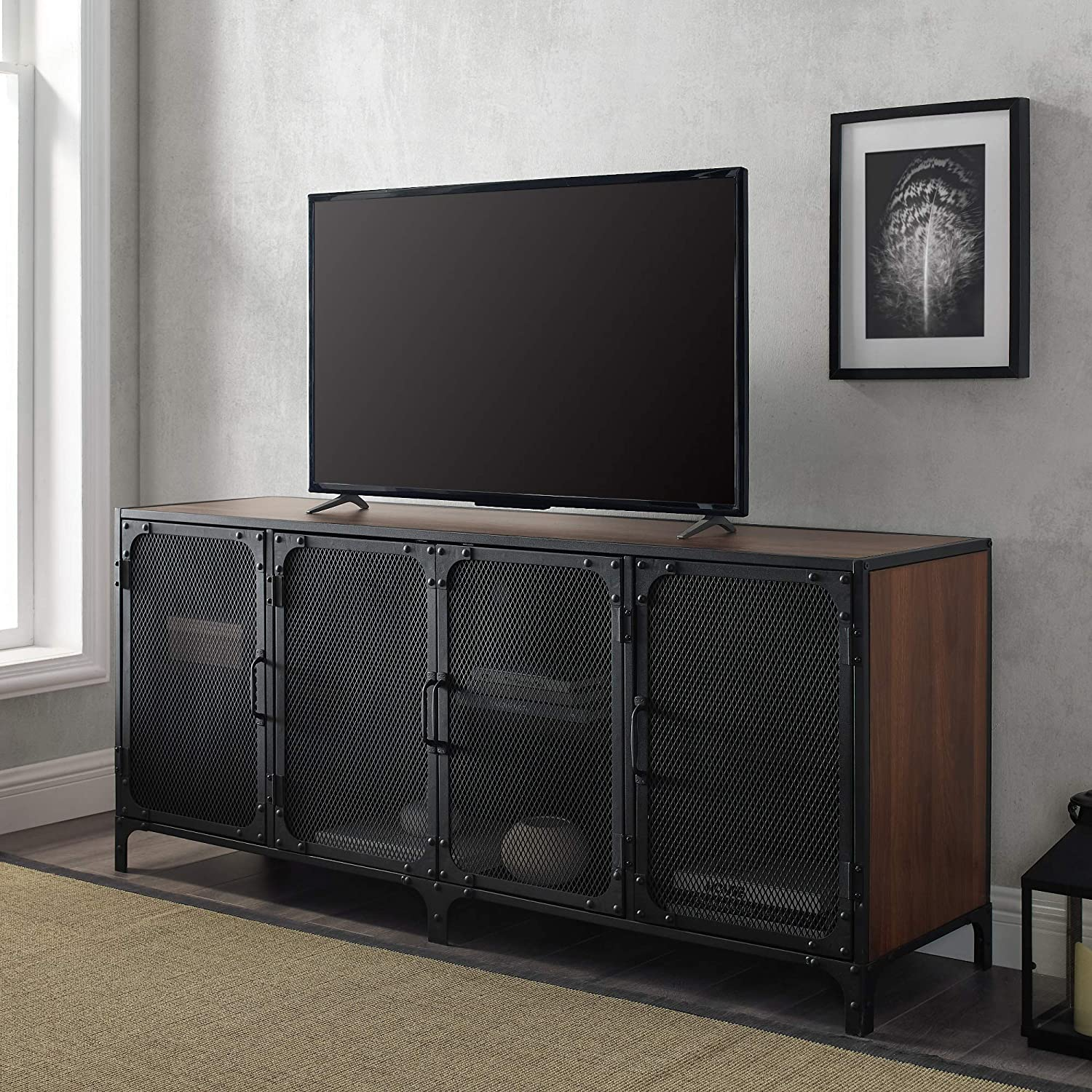 "Walker Edison Industrial Metal Mesh Universal Stand with Cabinet Doors TV's up to 64"" Flat Screen Living Room Storage Entertainment Center, 60 Inch, Dark Walnut"