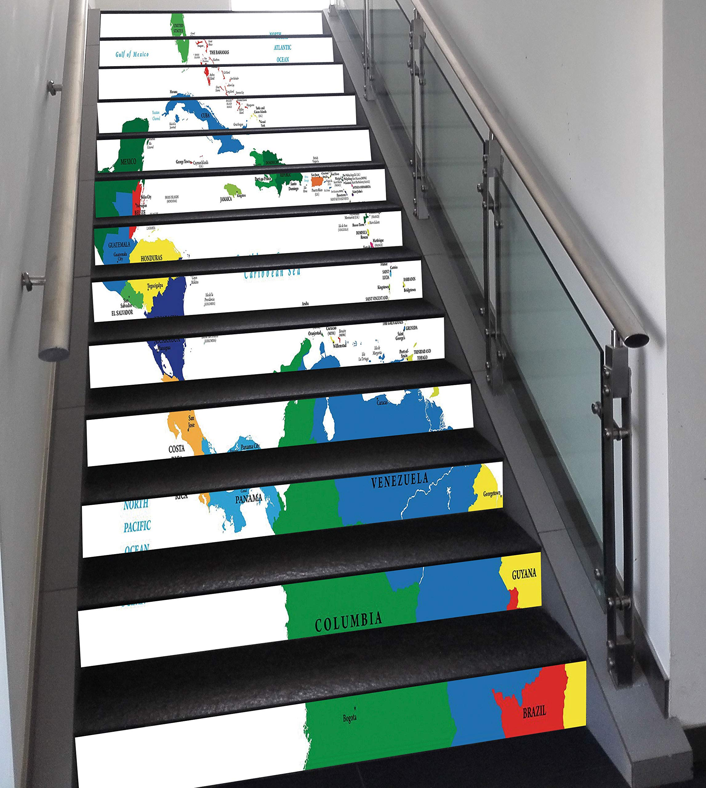 Stair Stickers Wall Stickers,13 PCS Self-adhesive,Map,Central America and the Caribbean Islands Map Countries Cities Names Regions Locations,Multicolor,Stair Riser Decal for Living Room, Hall, Kids Ro