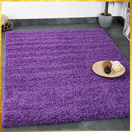 VIMODA Prime Tapis Shaggy Couleur Shaggy Poils Tapis Moderne pour Salon  Chambre, Dimensions: 150 cm Carré - Violet, 80x150 cm