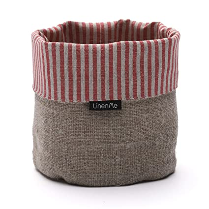 Linenme Red Striped Linen Cotton Jazz Basket Produced In Europe 15 X 20cm