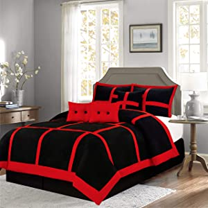Empire Home Mikasa Collection Luxurious Micro Suede Soft Comforter Set - Limited-Time Sale!! (Red Patchwork, Queen Size)