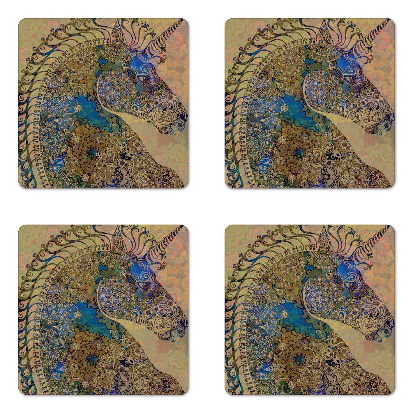 Ambesonne Unicorn Coaster Set of Four, Authentic