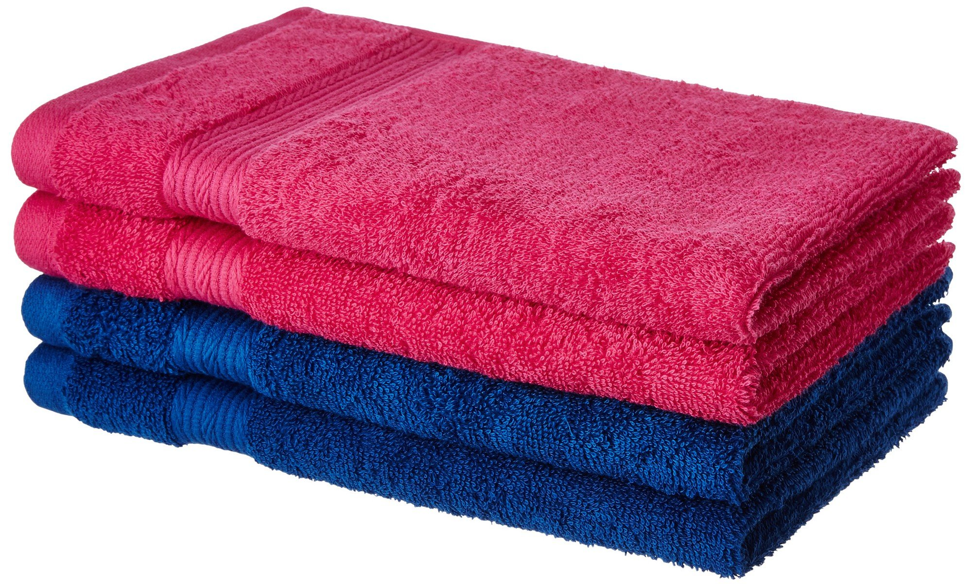 Amazon price history for Amazon Brand - Solimo 100% Cotton 4 Piece Hand Towel Set, 500 GSM (Iris Blue and Paradise Pink)