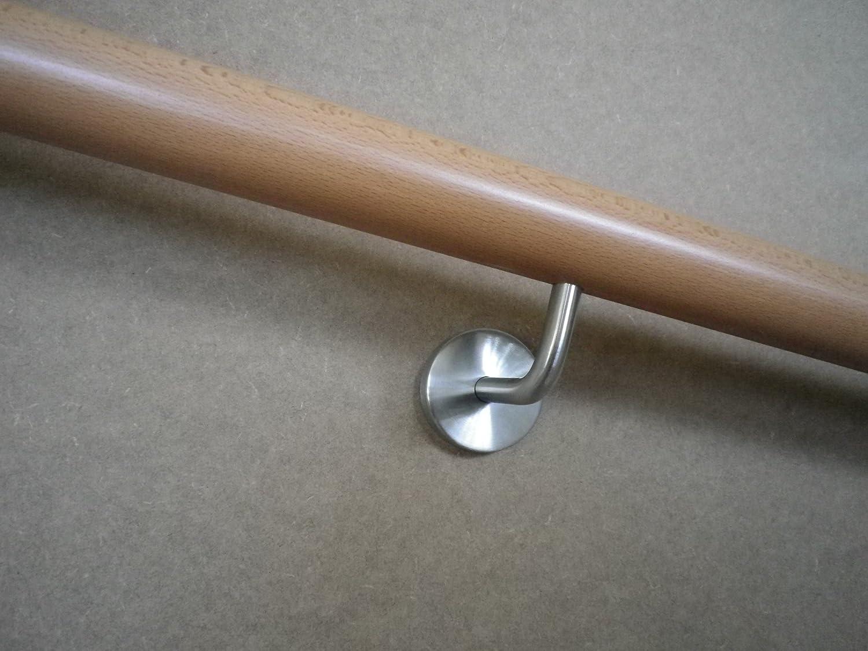 Handlauf Rundhandlauf Buche 1700mm 3 Edelsthlhalter d=42mm montagefertig