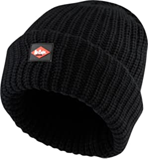 Lee Cooper Men s Knitted Fleece Lined Beanie Hat - Black 06ccf7638ad8