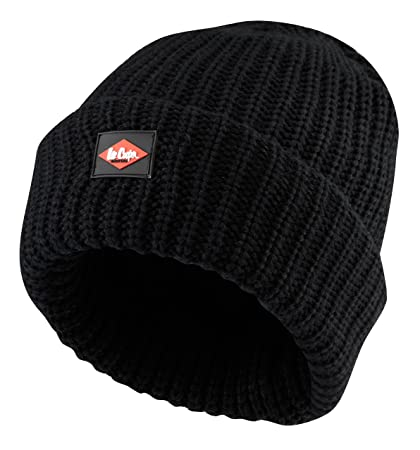 09811d3d9 Lee Cooper Workwear LCHAT624 Mens Knitted Fleece Lined Work Safety Beanie  Hat, Black, One Size