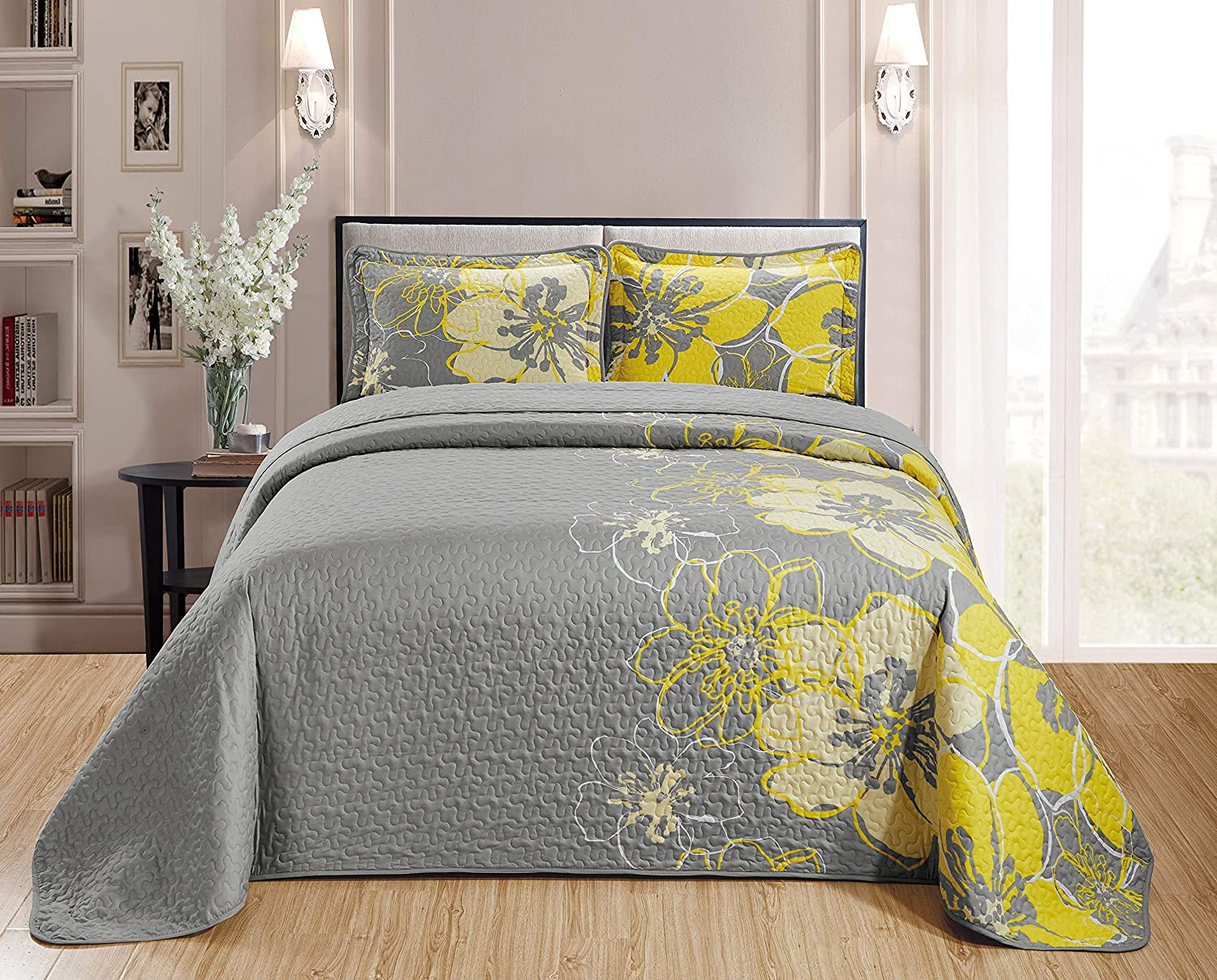 Home Collection Quilt Bedspread Set Over Size Flowers Printed Grey Yellow King/California King New