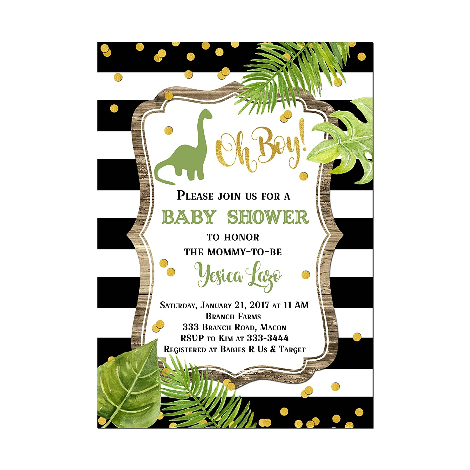 picture regarding Free Printable Dinosaur Baby Shower Invitations identify Ground breaking Dinosaur Youngster Shower Invites, Foundation value is for a Established of 10 5x7\