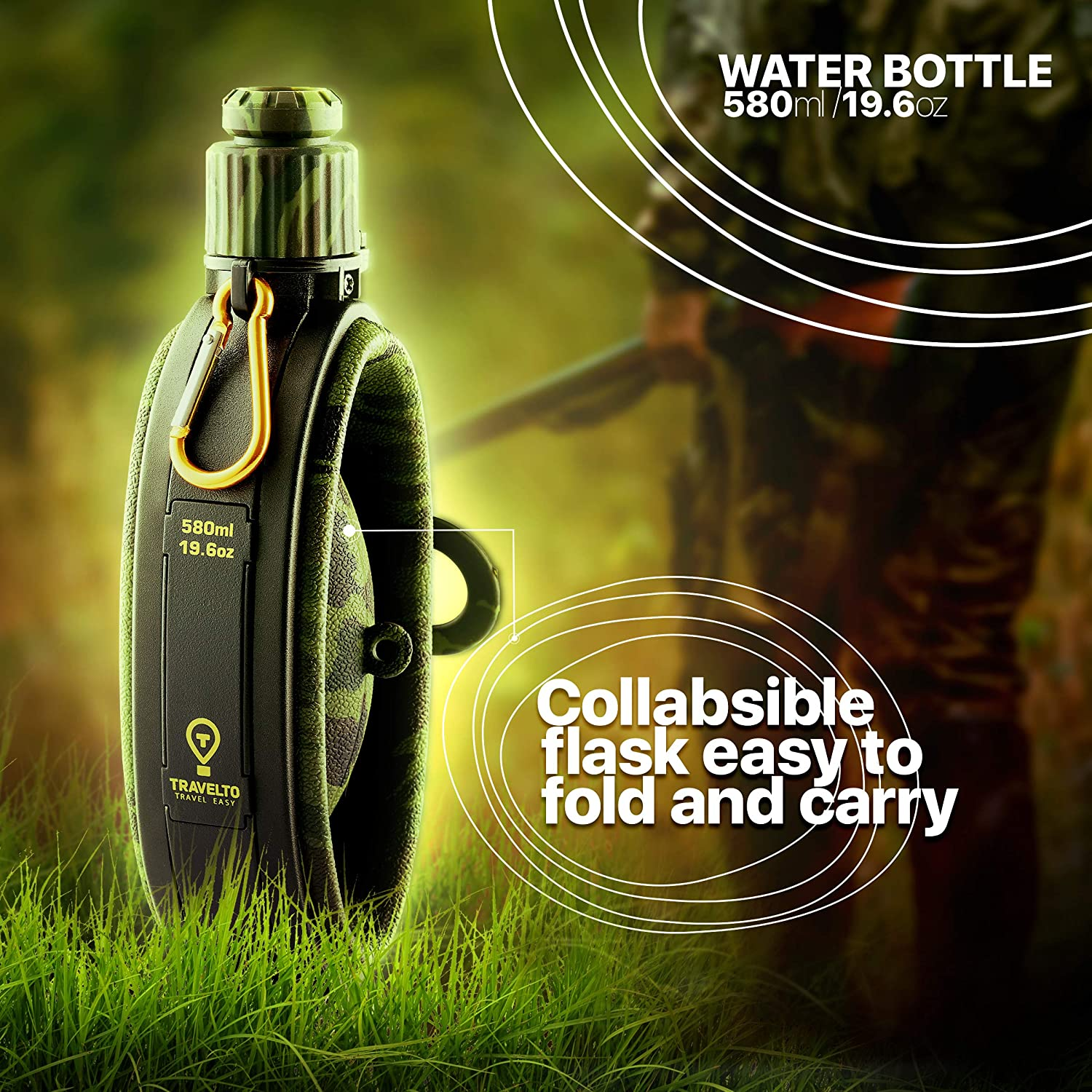 with Compass for Outdoor Travelling BPA Free Foodgrade Silicone Hiking Camping TRAVELTO Collapsible Water Bottle Premium Quality Military Portable Canteen 19.8oz 580 ml