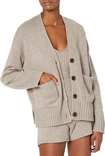 The Drop Women's Brigitte Chunky Button Front Pocket Ribbed Cardigan