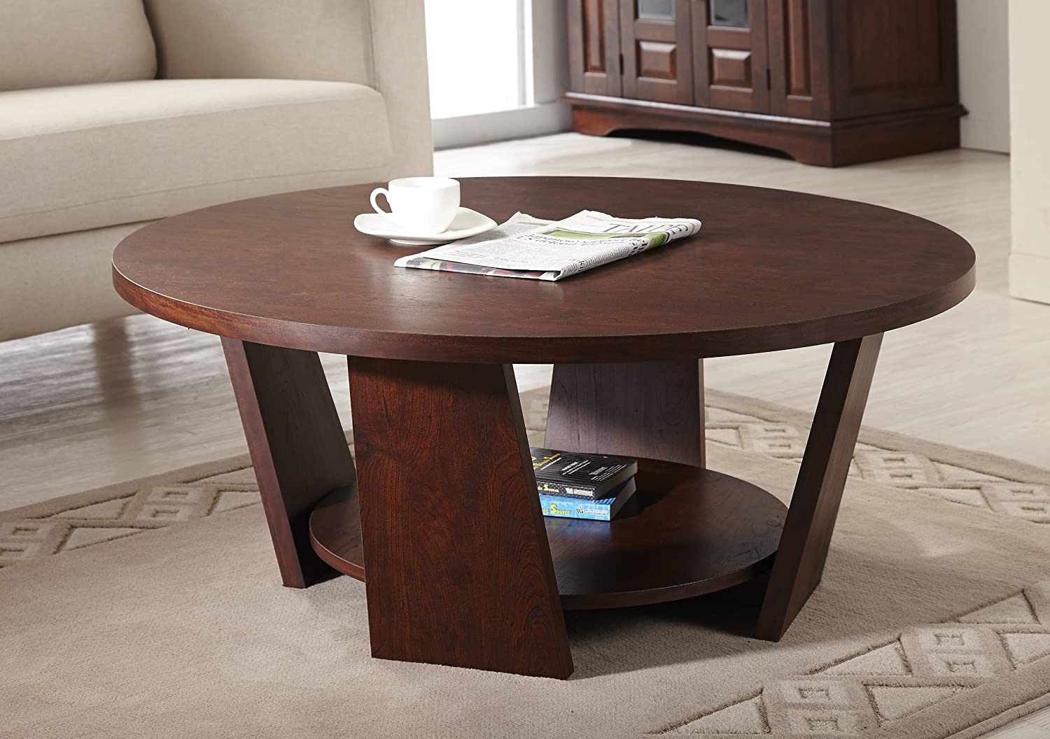 Amazon.com: IoHOMES 31 Inch Zoe Round Coffee Table, Large, Vintage Walnut:  Kitchen U0026 Dining