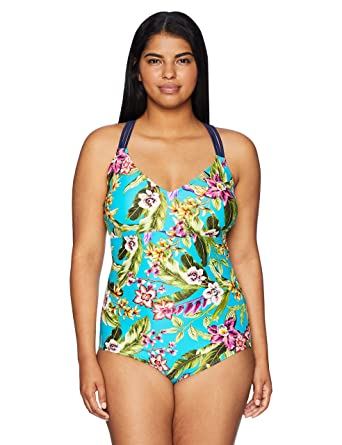 Coastal Blue Women's Plus Size Swimwear Strappy Back One Piece Swimsuit