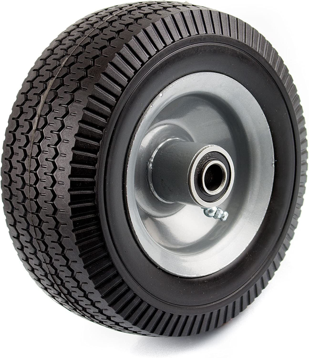 NK WFF8 Heavy Duty 8-Inch Solid Rubber Flat Free Tubeless Hand Truck/Utility Tire Wheel
