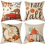 WLNUI Fall Pillow Covers 18x18 Inch for Fall Decoration Fall Harvest Decorative Throw Pillow Covers Pumpkin Cushion Case…