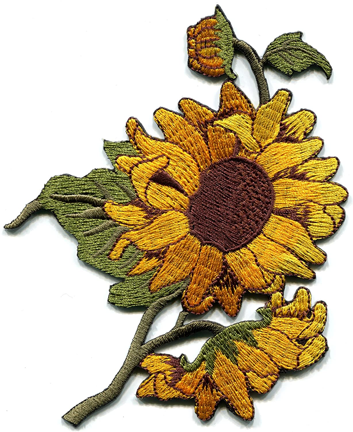 Sunflower flower granny chic retro boho embroidered applique iron-on patch new by TKPatch   B00SJ0Q4RG