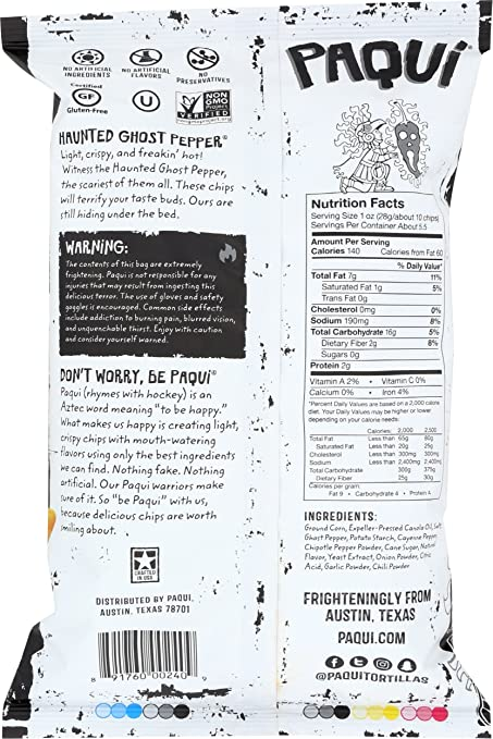 3ca57c42135a9 Amazon.com: Paqui Tortilla Chips, Gluten Free Snacks, Haunted Ghost Pepper,  5.5oz (Single bag)