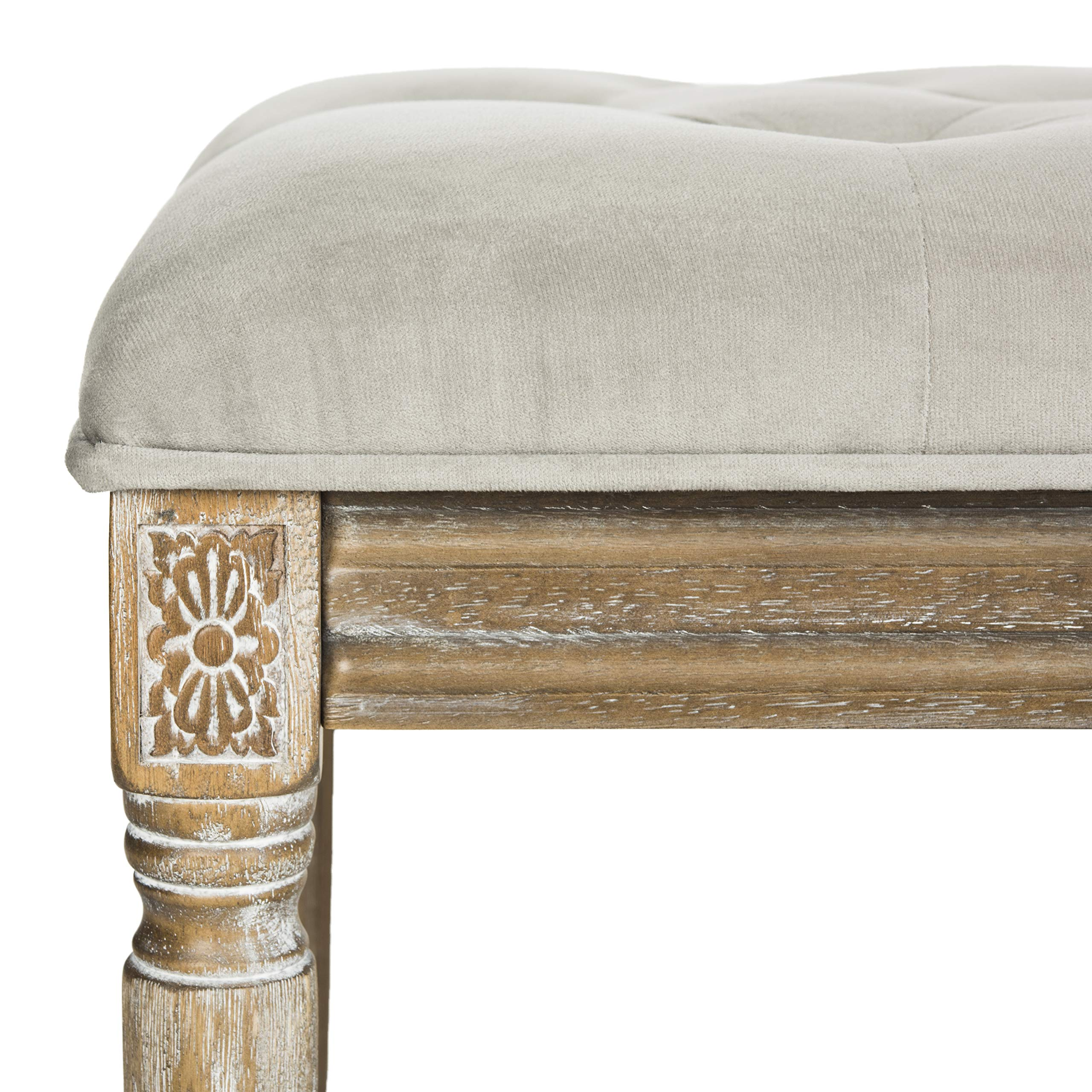 Safavieh Home Collection Rocha French Brasserie Tufted Grey and Rustic Oak 19-inch Wood Bench by Safavieh (Image #8)