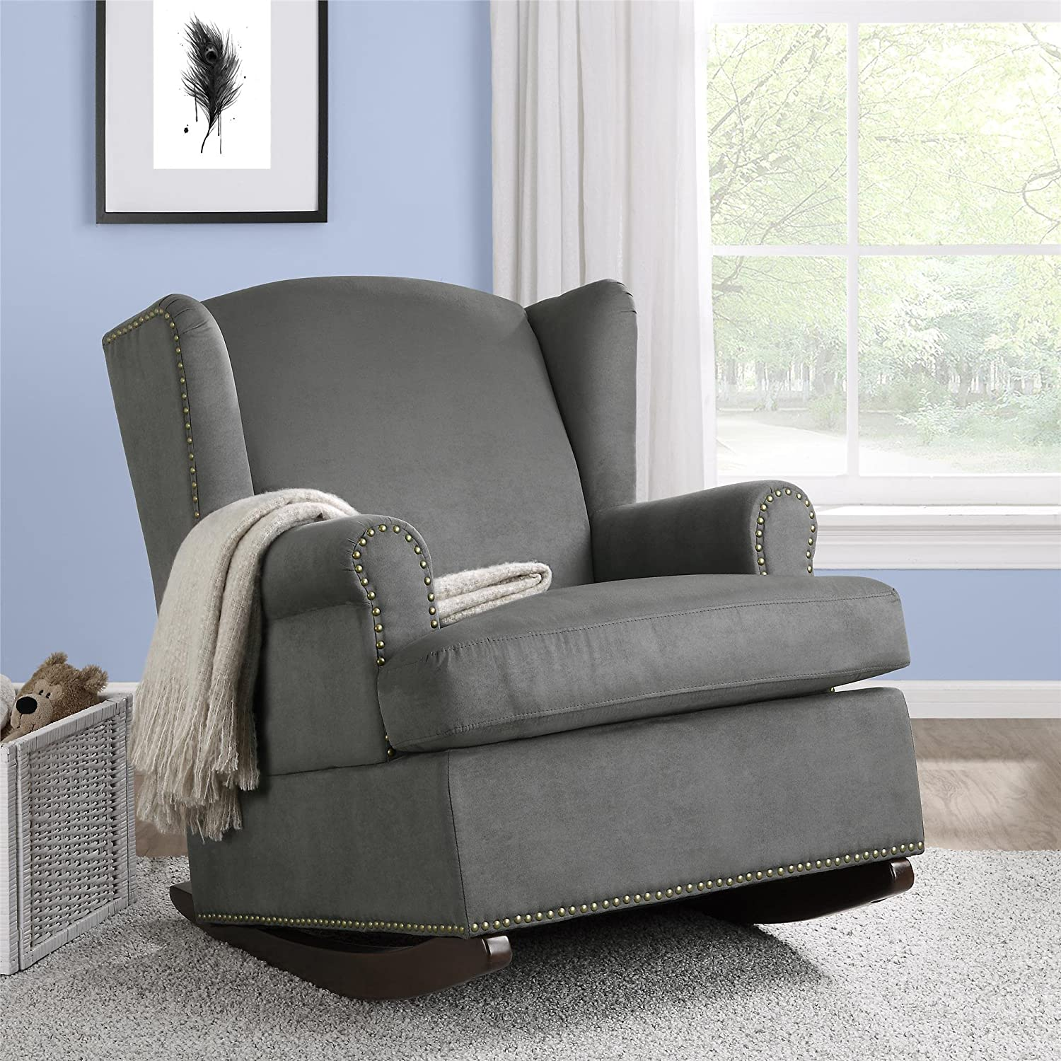 amazoncom baby relax harlow wingback nursery room rocker with nail heads charcoal baby