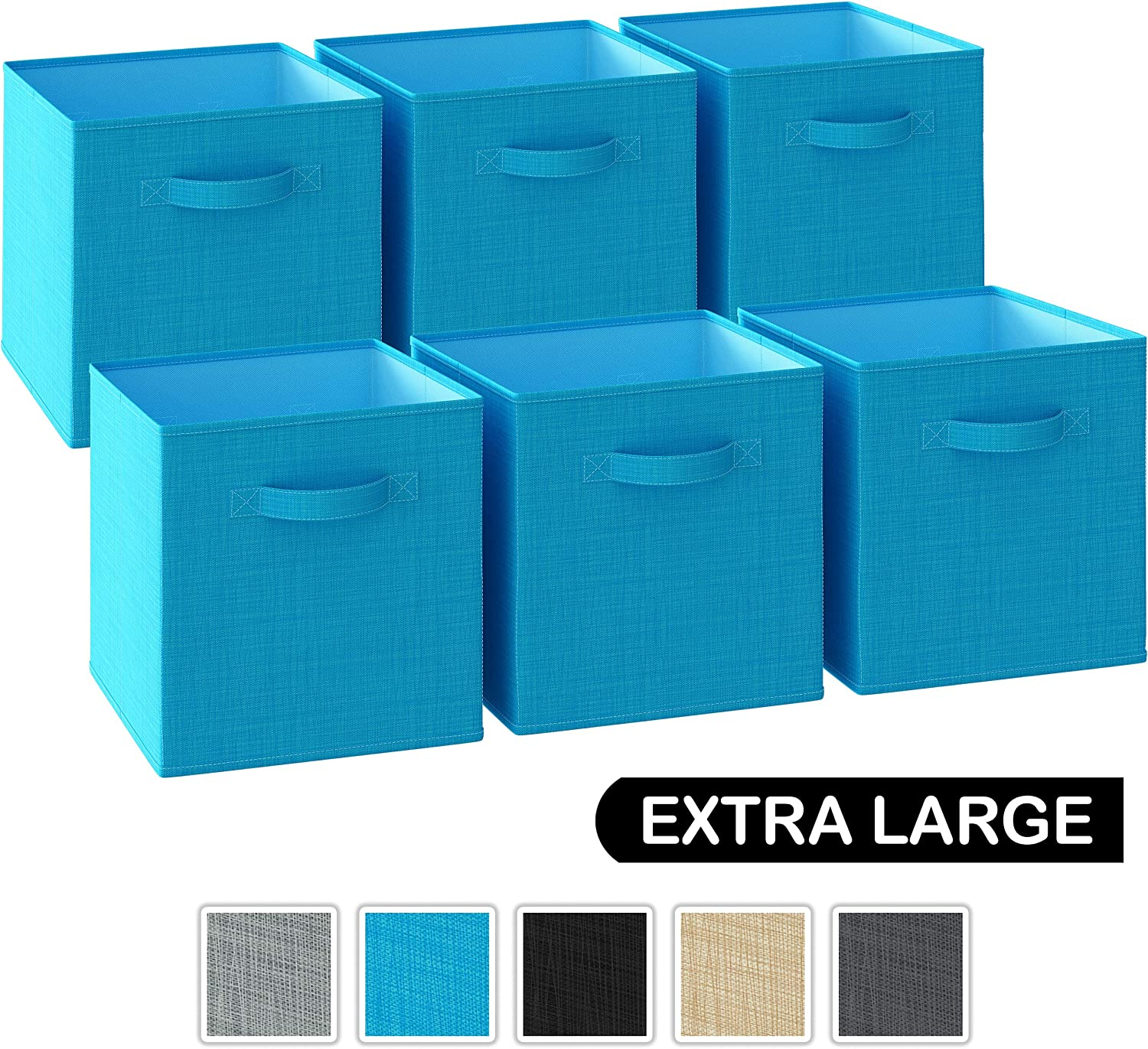13x13x13 Large Storage Cubes - Set of 6 Storage Bins | Features Dual Handles | Cube Storage Bins | Foldable Closet Organizers and Storage | Fabric Storage Box for Home and Office (Aqua Blue)