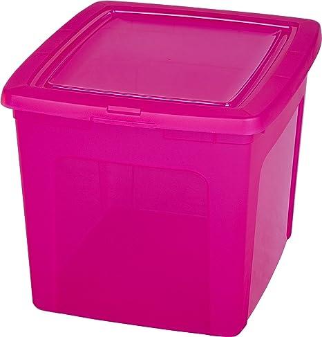 Iris Ohyama Caja de plástico 30 litros, Caja de plástico Rosa ...