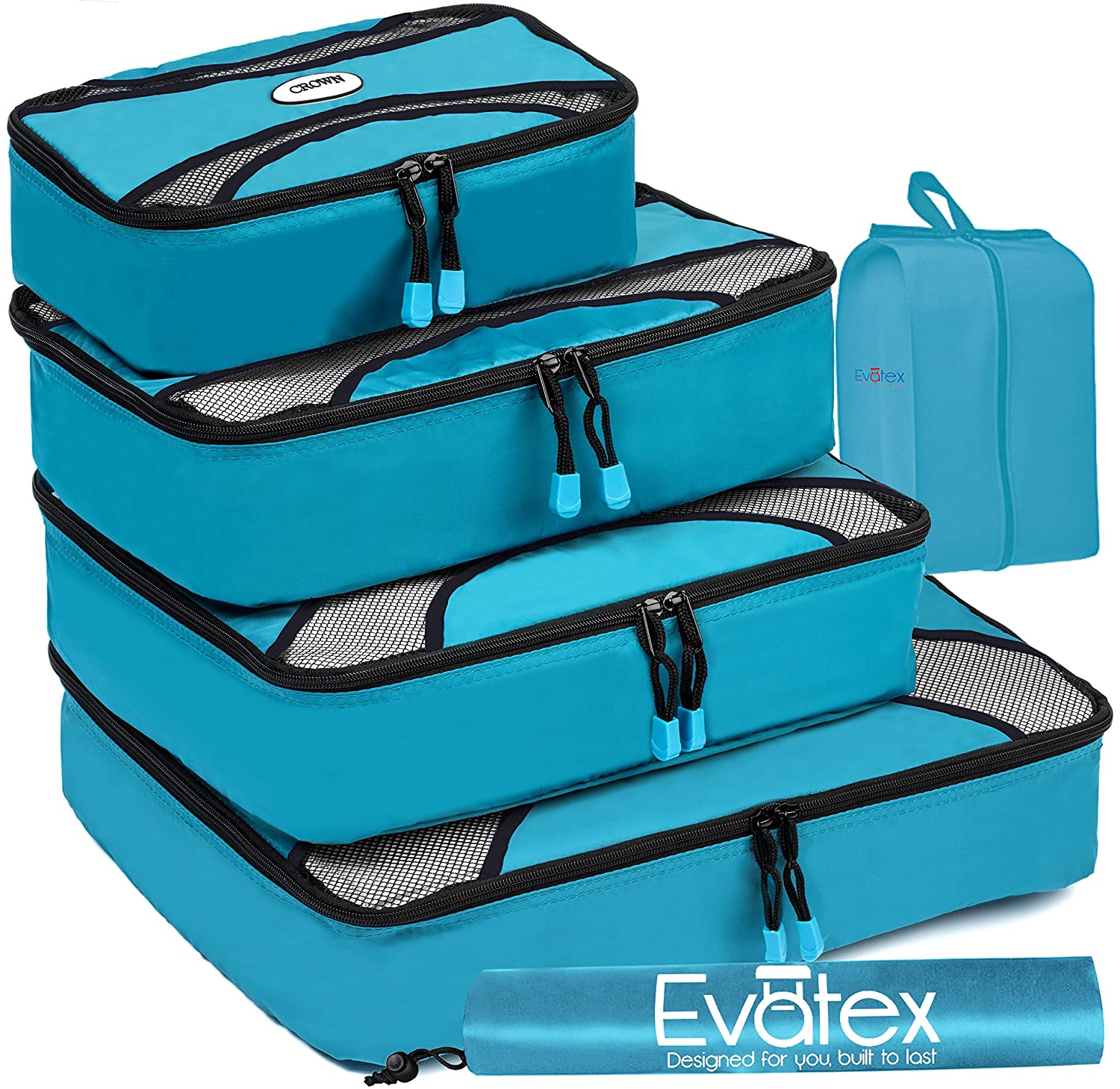 486239e10017 Evatex Packing Cubes | Travel Packing Cubes, 6 psc Set with Shoe Bag and  Laundry Bag