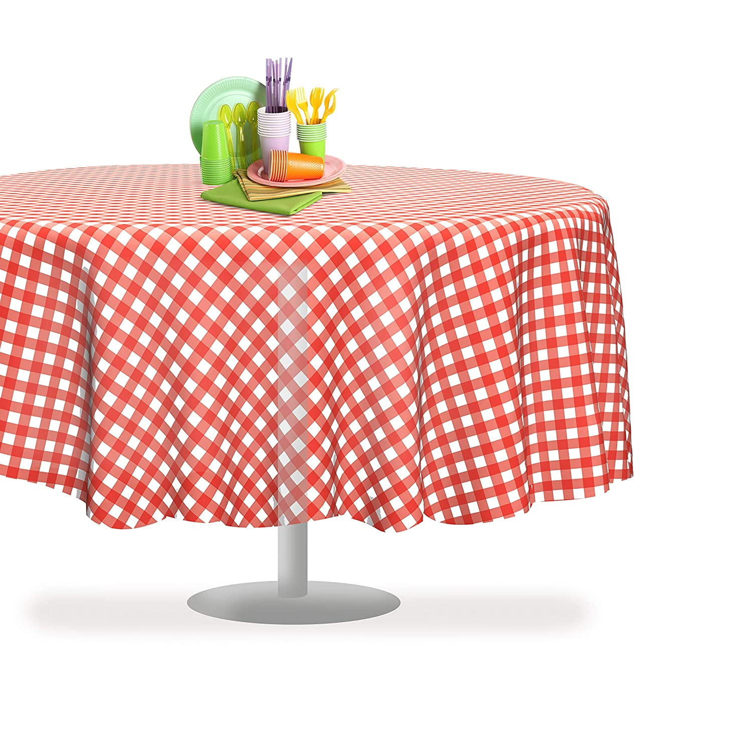 """Red Gingham Checkered 12 Pack Premium Disposable Plastic Picnic Tablecloth 84"""" Inch Round Table Cover By Grandipity"""