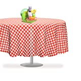 "Red Gingham Checkered 12 Pack Premium Disposable Plastic Picnic Tablecloth 84"" Inch Round Table Cover By Grandipity"