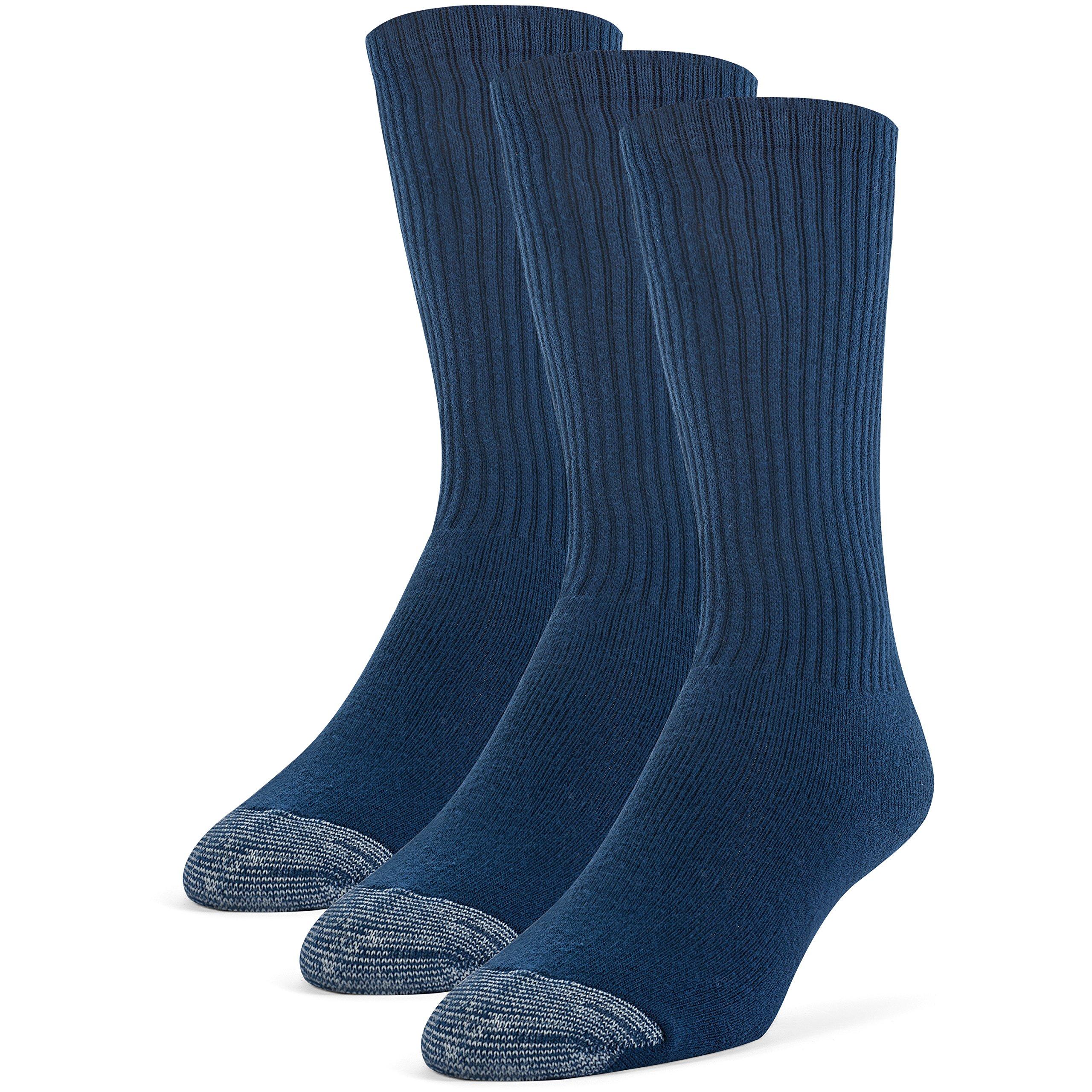 Galiva Men's Cotton Extra Soft Crew Cushion Socks - 3 Pairs, Large, Navy Blue by Galiva (Image #1)