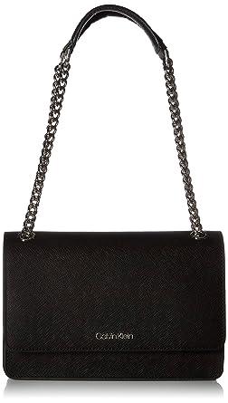 6e97f162219 Calvin Klein Hayden Saffiano Leather Chain Demi Shoulder Bag, Black/Silver