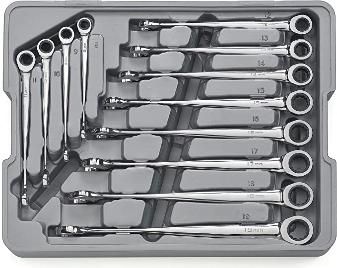"""GearWrench 85366 1//2/"""" 12 Point X-Beam Reversible Combination Ratcheting Wrench"""