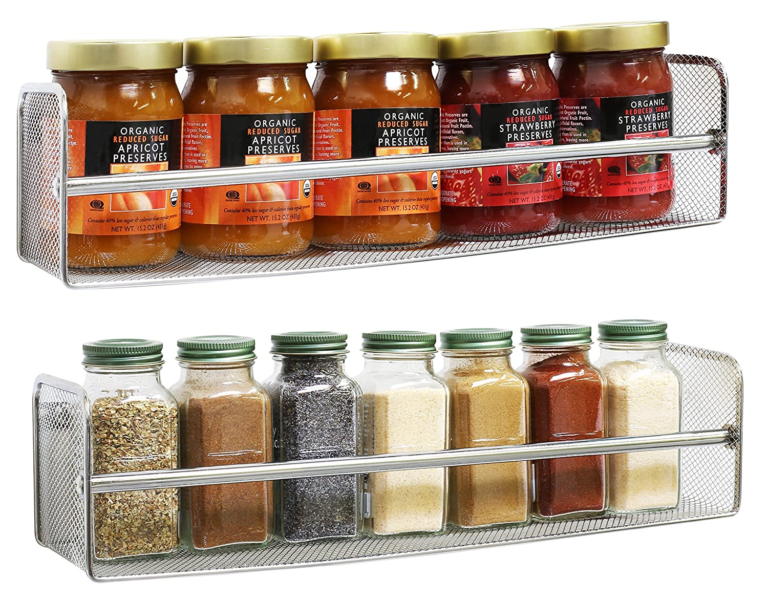 DecoBros 2 Pack Wall Mount Single Tier Mesh Spice Rack, Chrome Deco Brothers RK-030-1