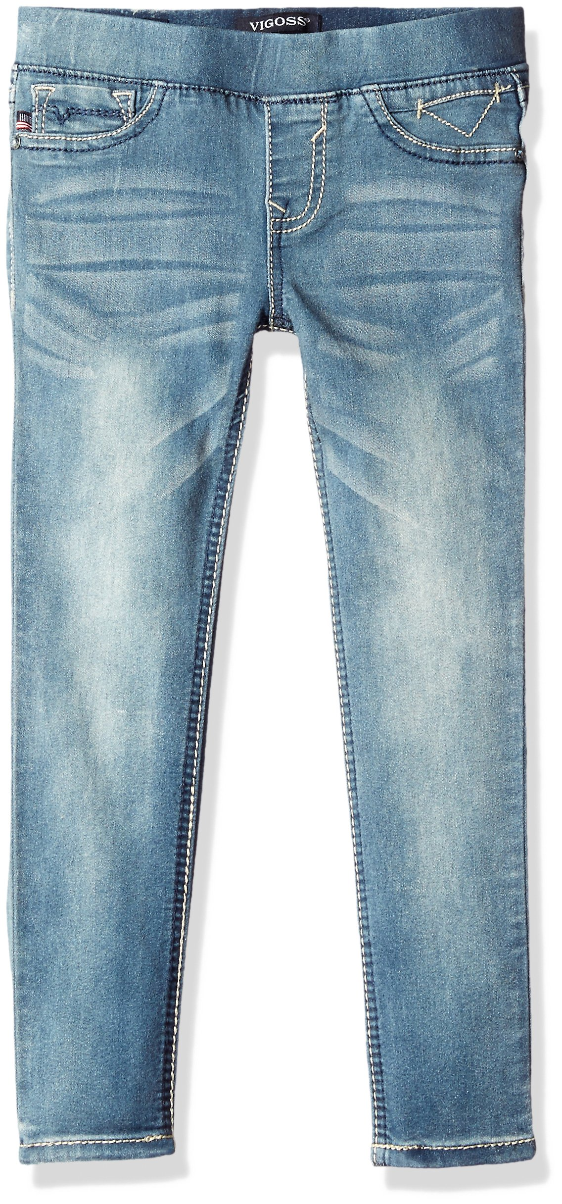 Vigoss Girls' Girls' 5 Pocket Classic Pull on Skinny Jean, Memory, 12 by VIGOSS