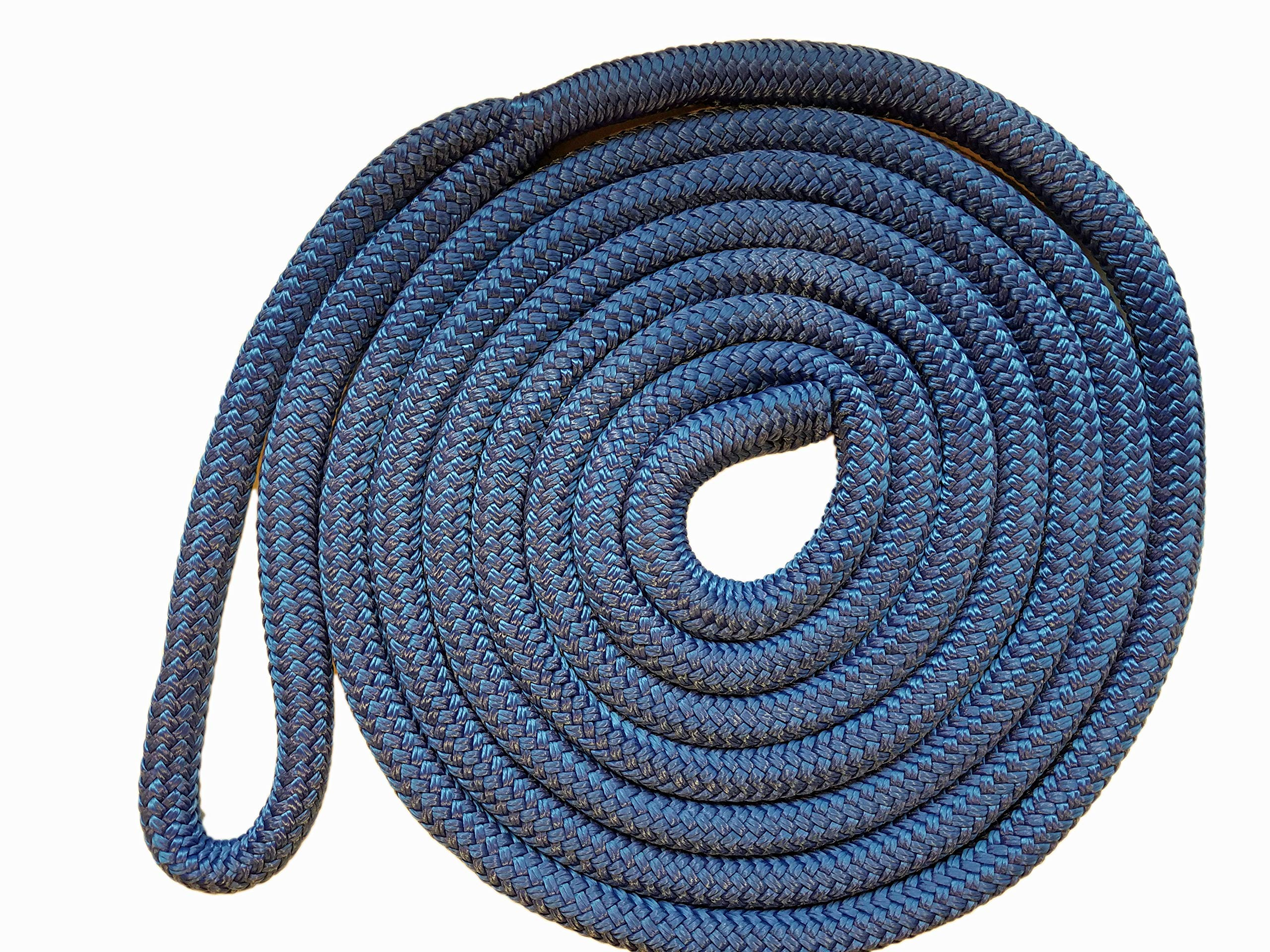 Knotty Girlz 5/8'' Double Braid Nylon Dock Line Yacht Rope or Mooring Line 100ft, 50ft, 25ft. or 15ft. Overall Length with Eye Spliced Loop (Blue, 15ft.)