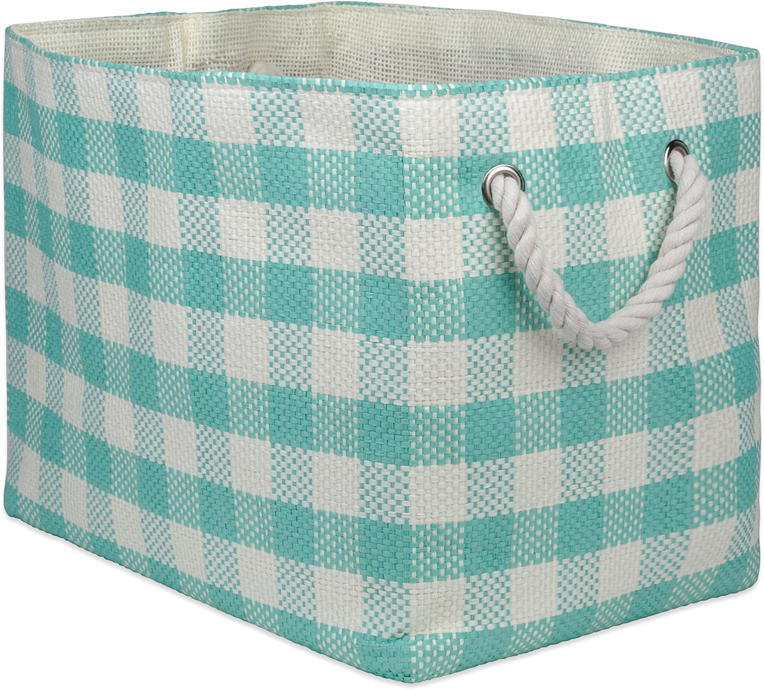 "Bedroom Medium - 15x10x12/"" Collapsible /& Convenient Home Organization Solution for Office /& Laundry/  Closet DII Oversize Woven Paper Storage Basket or Bin Black Checkered Toys"