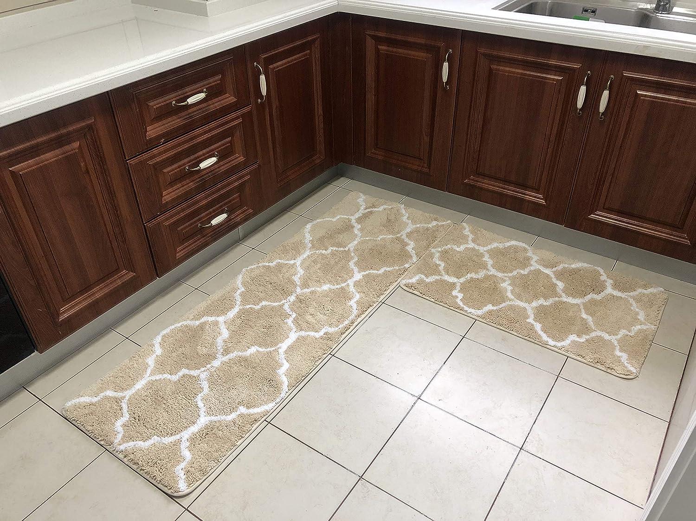 Amazon com jusstmix kitchen rug kitchen mat bathroom rugs bath mat luxury extra thick microfiber non slip floor mat 2 pieces set 20x32 20x60beige