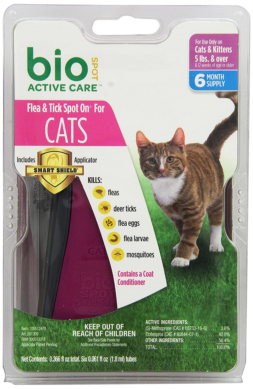 BioSpot Active Care Spot On with Applicator for Cats over 5 lbs 6 Month Supply