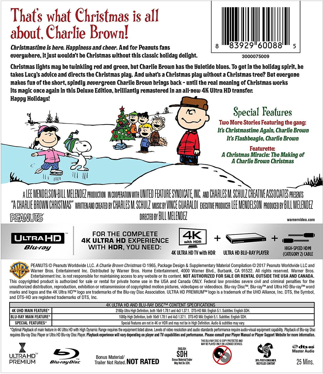 Amazon.com: A Charlie Brown Christmas (4K Ultra HD + Blu-ray): Peter ...