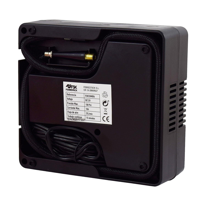 Ferrestock FSKCOM004 Mini Compresor de Aire Reforzado, 12V: Amazon.es: Coche y moto