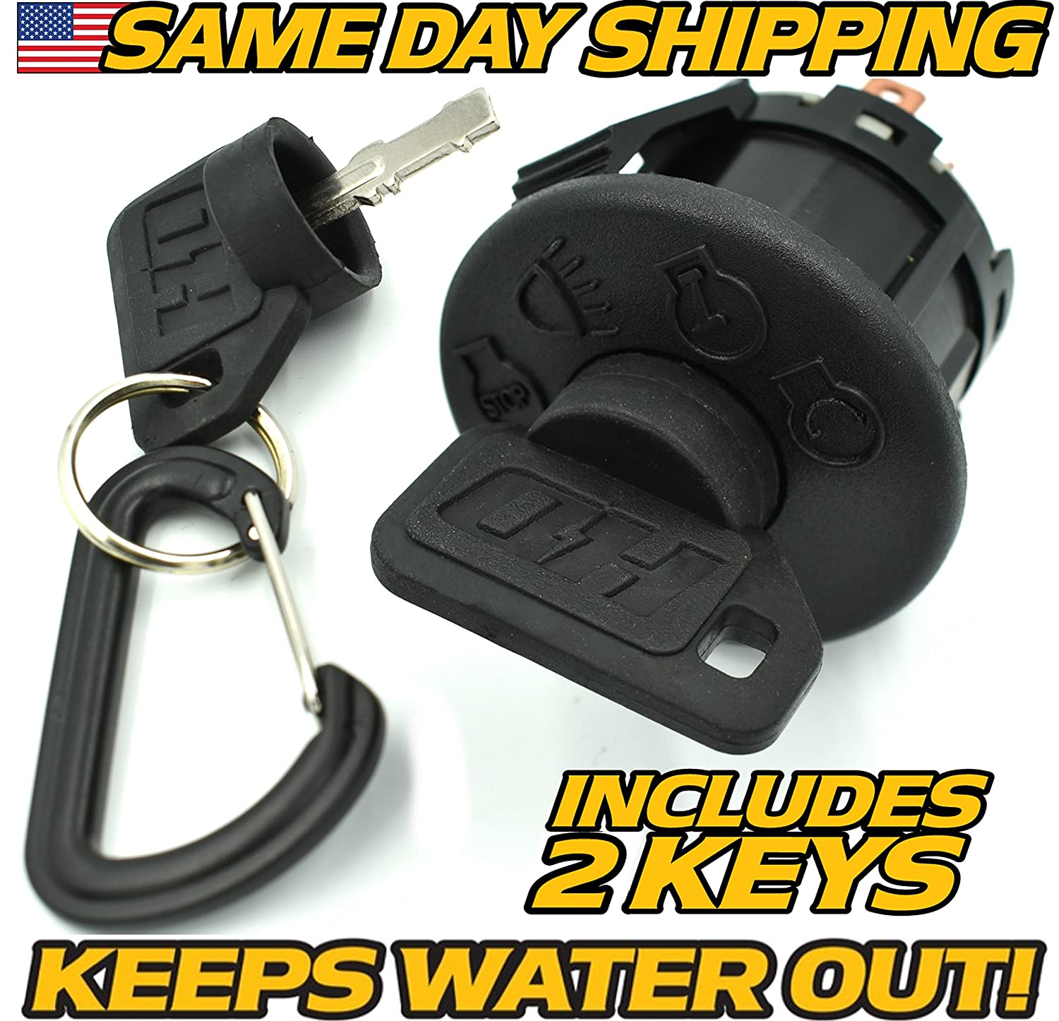 John Deere Ignition Switch D100, D105, D110, D120, D125, D130, D140, D150, D155, 2 Upgraded Key & Free Keychain - HD Switch