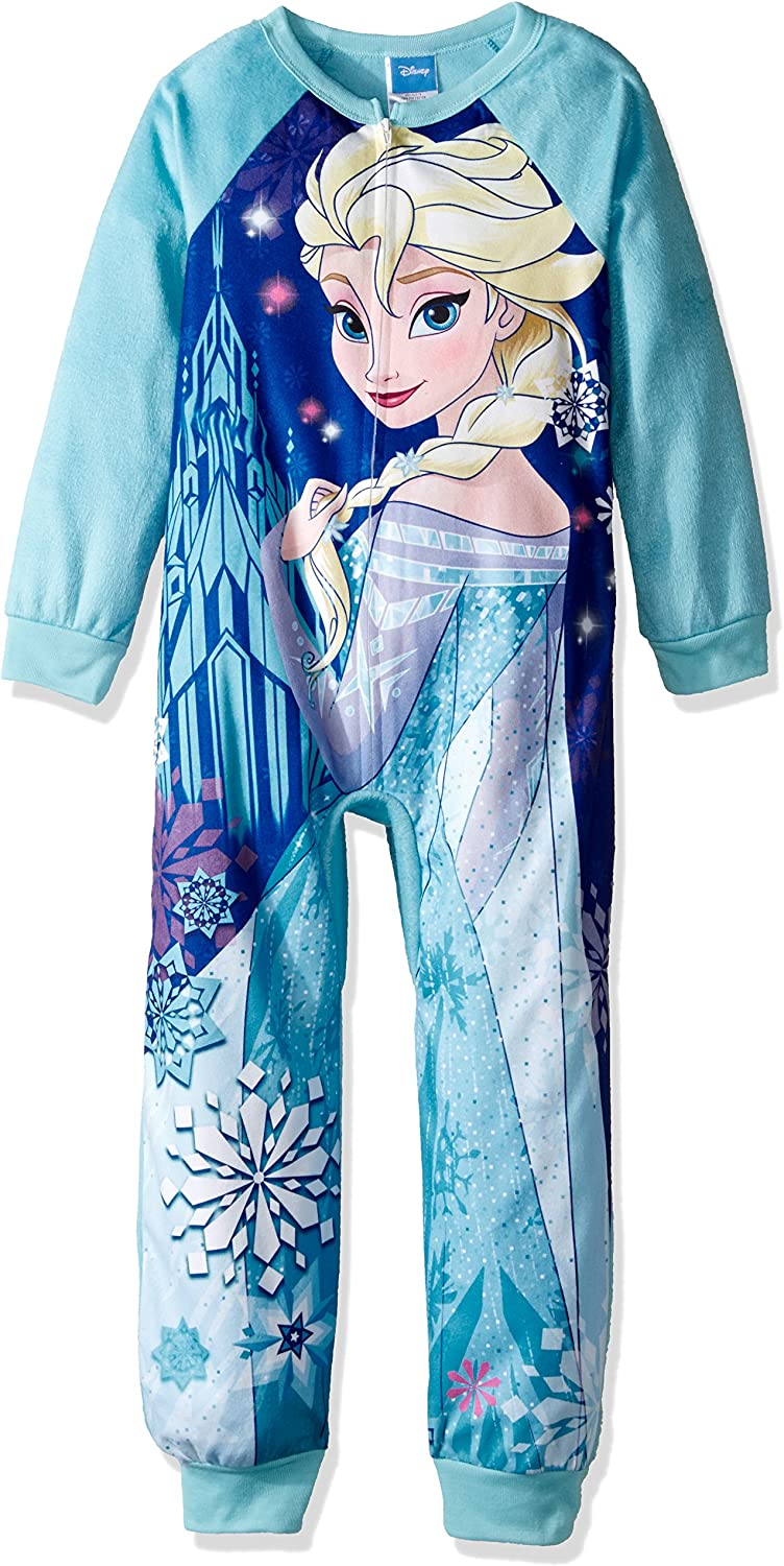 Disney Frozen Elsa Anna Long Sleeve Fleece Sleeper Blanket Pajama Girl Size 7//8