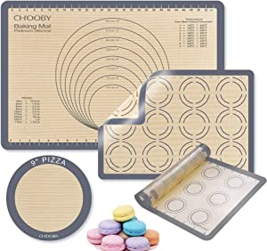 4 Pieces CHOOBY Large Silicone Baking Mats Kit with Measurements, Heat-Resistant Non-Slip Non-Stick Duty Reusable Oven Food Safe Baking Sheet, Cooking Accessory Pizza Macaron Mat