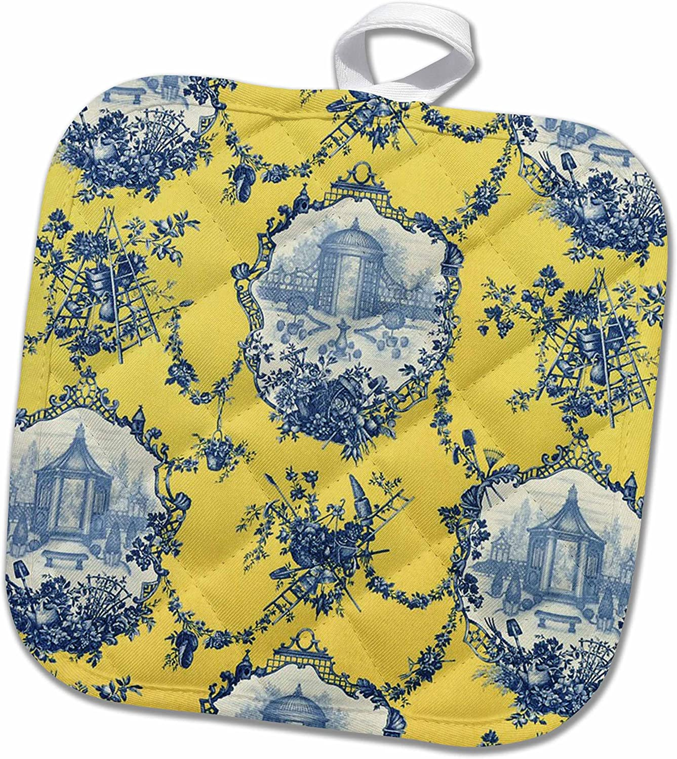 3D Rose Garden French Yellow and Blue. Popular Toile Print. Pot Holder, 8 x 8