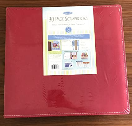 Amazon Memory Stor 30 Page Scrapbook 2 Pack Red Canvas Cover
