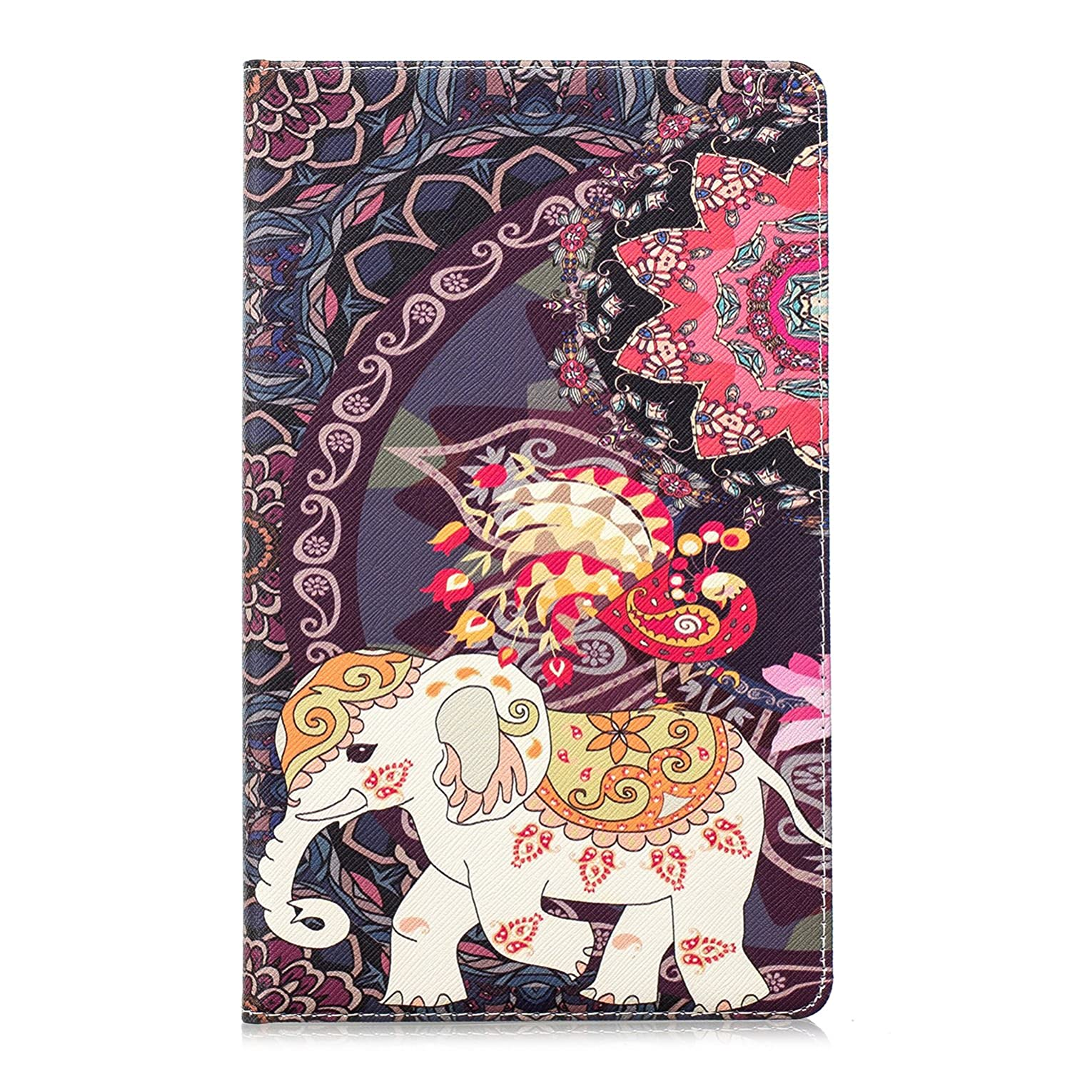 Leather Case for  Fire HD 8 Tablet Tablet, Slynmax Flip Folio Leather Wallet Case Flower Elephant Design Flodable Stand Protective Case for  Fire HD 8 Tablet