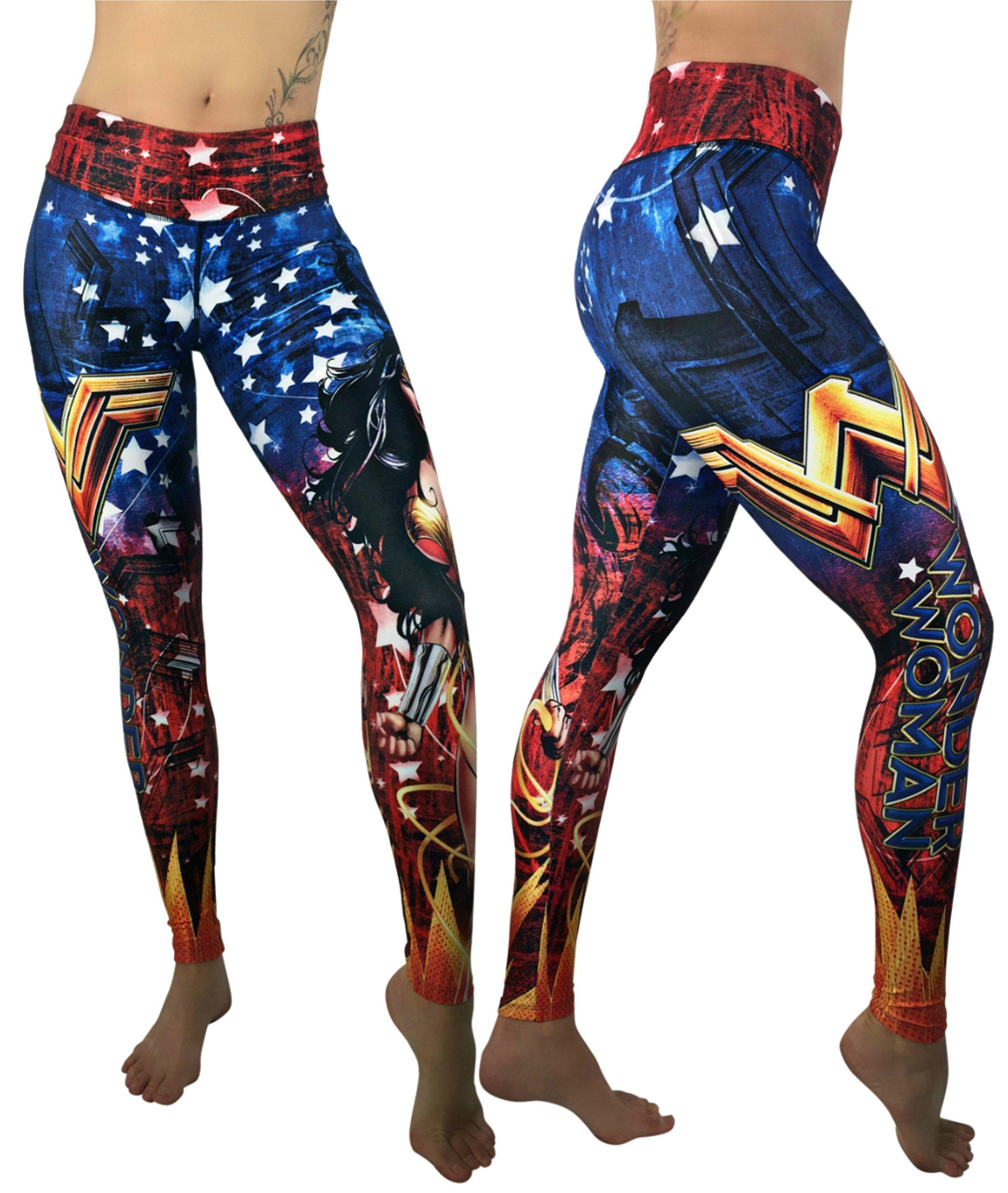Activewear Superhero Many Styles Leggings Yoga Pants Compression Tights (Wonder Woman 3)