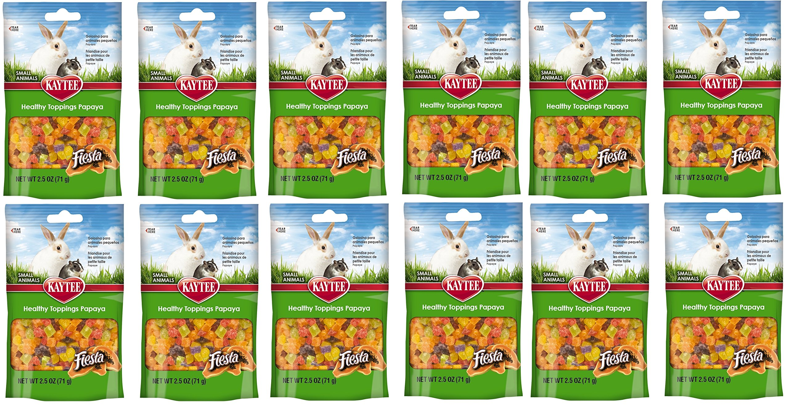 Kaytee (12 Pack) Fiesta Papaya Topping Healthy Treats Small Animal, 2.5-Ounce Each