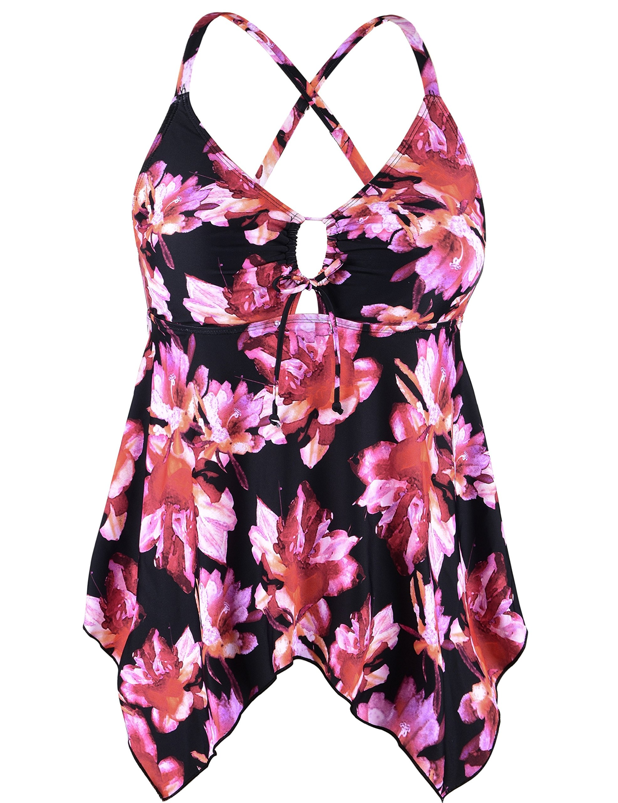 f8fd061b165 Galleon - Firpearl Women s Black Flowy Swimsuit Crossback Plus Size Tankini  Top US12 Pink Floral