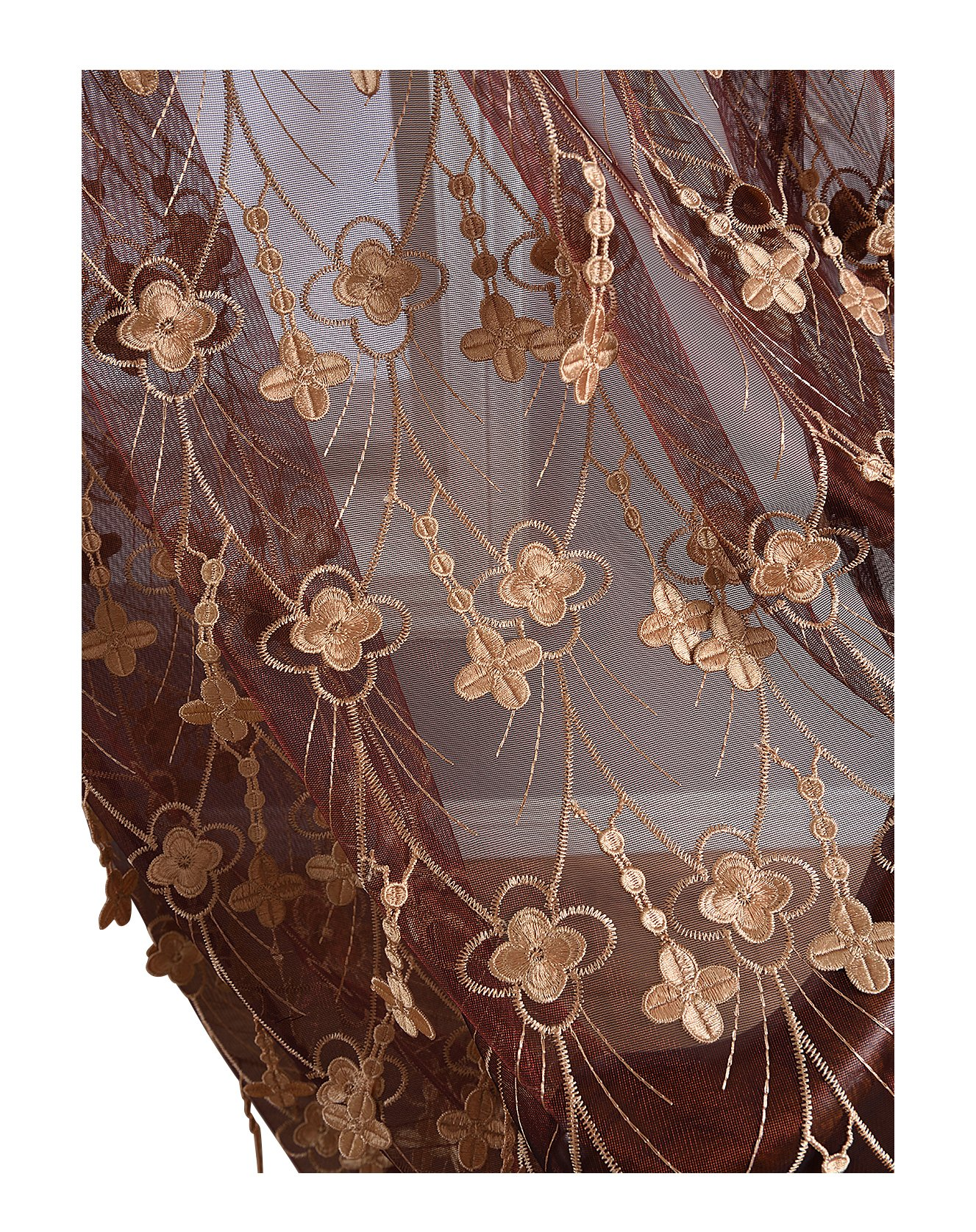 Aside Bside 4 Petals Floral Embroidered Sheer Curtains with Draping Embroidery Decorations Rod Pocket Top Brilliant Design (1 Panel, W 52 x L 104 inch, Red 6) -1281638521048506C1PGC by Aside Bside (Image #1)